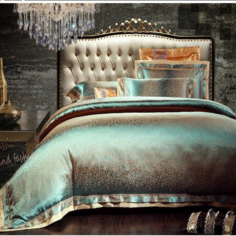 Ev ve Bahçe'ten Yatak Takımları'de 4/6 adet Yeşil Jakarlı Saten nevresim takımı kral kraliçe Lüks Haraç Ipek yorgan/nevresim çarşaf yatak örtüsü seti ev tekstili'da  Grup 1