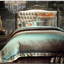 4/6pcs Green Jacquard Satin bedding set king queen Luxury Tribute Silk quilt/duvet cover bed linen bedclothes set home textile