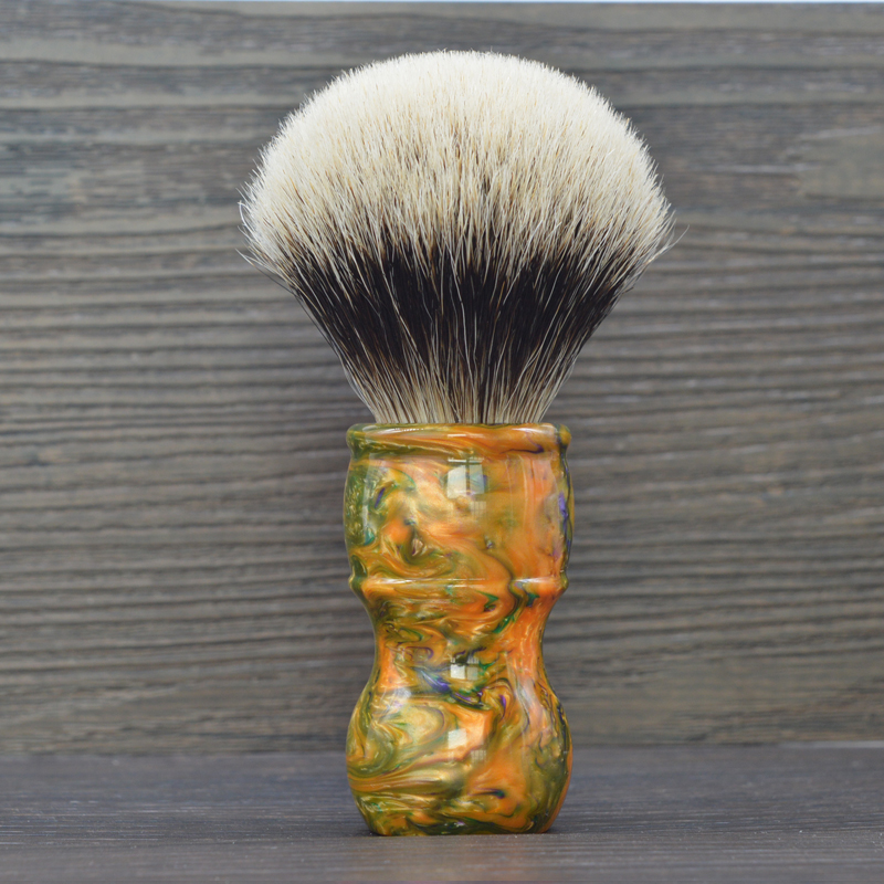 dscosmetic 26mm Galaxy resin handle 2 band silvertip badger hair shaving brush 5