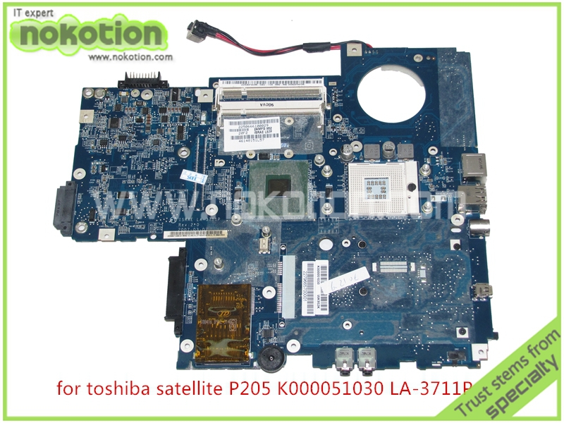 NOKOTION ISRAE LA-3711P REV 2.0 For toshiba Satellite P200 P205 motherboard K000051030 intel 943GML ddr2 nokotion nbwaa la 5821p rev 0 1 k000085450 laptop motherboard for toshiba satellite l455 mainboard intel gl40 ddr2