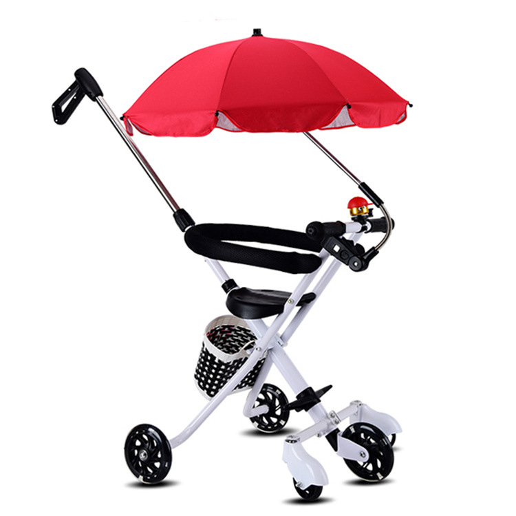 Portable Five Wheels Kids Tricycle Folding Children Trolley With Removable Protection Fence &PVC Flashing Wheel Simple Cart