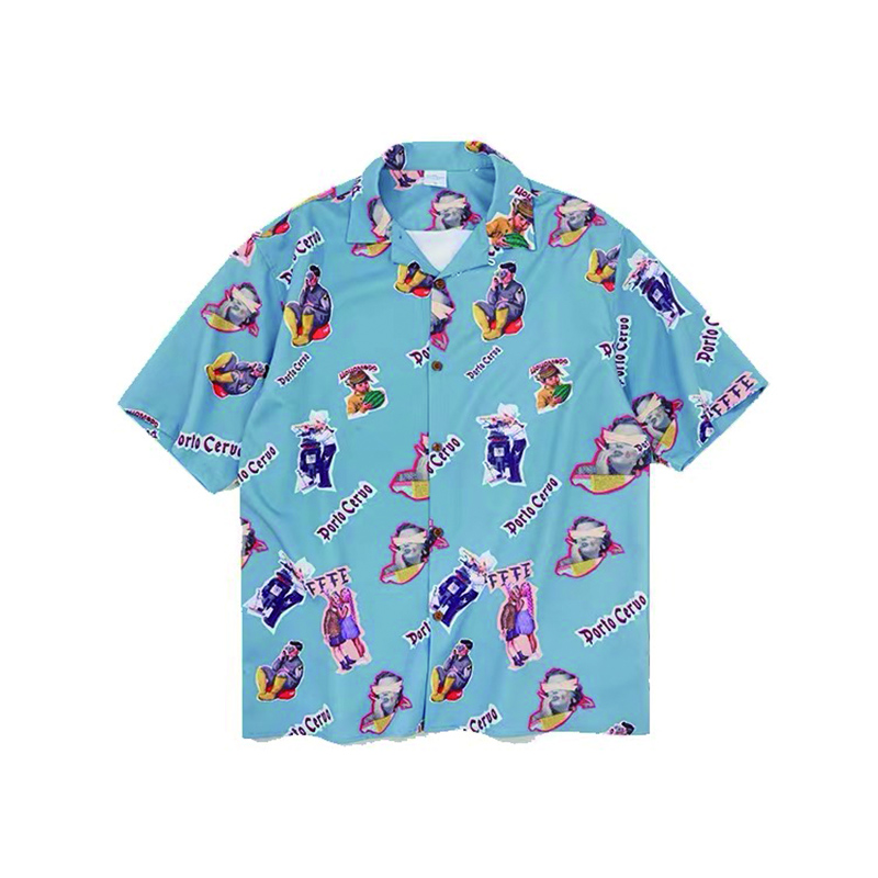 Hfnf Hip Hop Streetwear Men Hawaiian Printed Floral Summer Floral Rapper Beach Shirts For Men Youth Harajuku Leisure Shirts