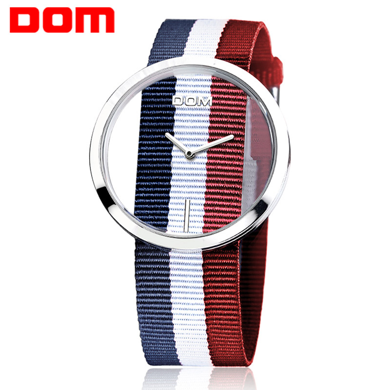 Watch Women DOM Brand Luxury Fashion Casual Quartz Unique Stylish Hollow Skeleton Watches Nylon Sport Lady Wristwatches LP-205 vansvar brand luxury fashion casual quartz unique stylish hollow skeleton watch leather sport ladies wristwatches drop shipping
