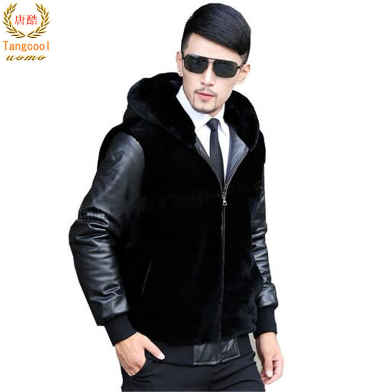 Tang cool 2018 autumn and winter brand new men's fur coat mink fur fashion hat fur and leather jacket