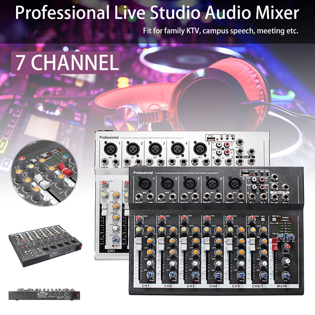 Mini Portable 7 Channel Karaoke Audio Mixer Amplifier Digital Microphone Sound DJ Mixing Console for Family KTV White Black mini portable audio mixer with usb dj sound mixing console mp3 jack 4 channel karaoke 48v amplifier for karaoke ktv match party