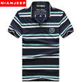 Jeep nian marca clothing homens turn down collar moda striped tops tees t shirt homens