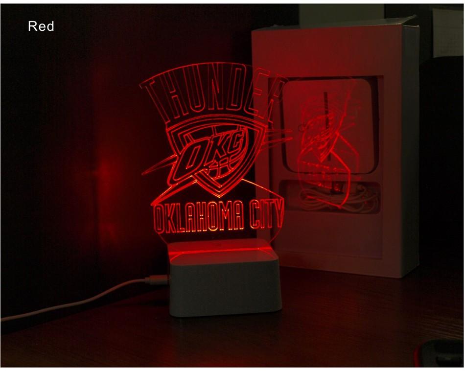 Creative Holiday Gifts for Thunder NBA Desk light Oklahoma City 3D Night Light as Bedroom Lampara (7)