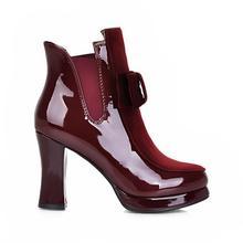 KemeKiss Women Patent Leather High Heel Mid Calf Boots Platform Sexy Bowtie Warm Winter Boot