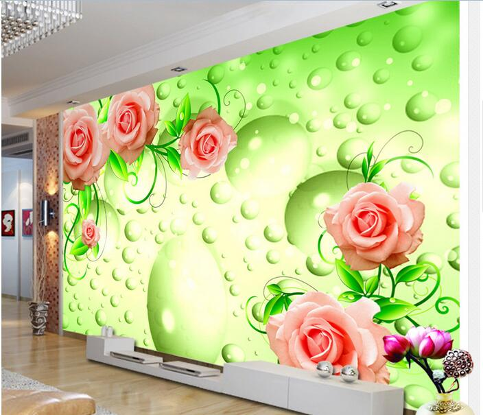 3d room wallpaper custom mural non-woven wall sticker 3 d fantasy green vine of roses painting photo wallpaper for walls 3d modern creative quality acylic led dinning room pendant lamp home decoration lighting fixture with led free shipping 110v 220v