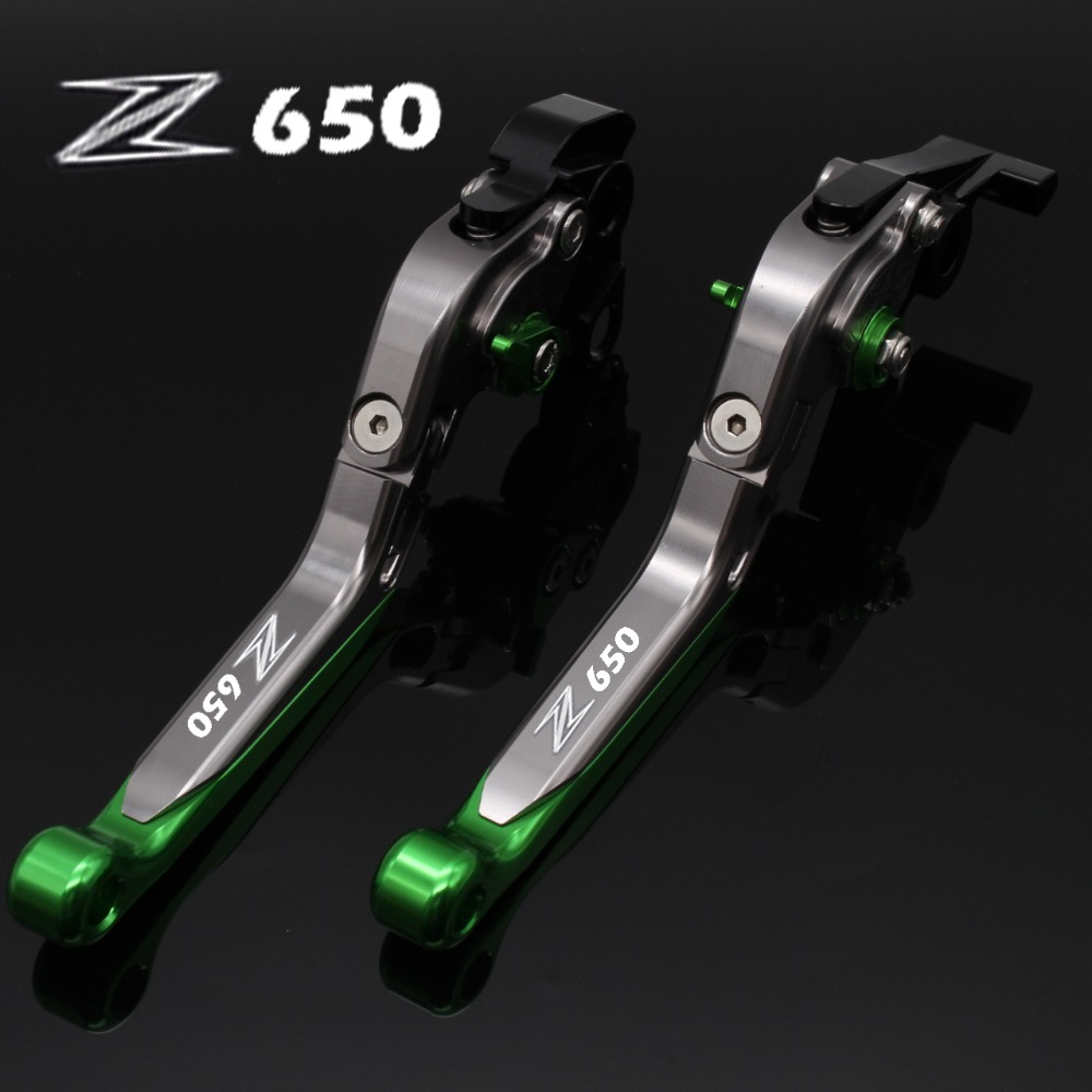 For Kawasaki Z650 2017 Black&Titanium Folding Extendable Motorcycle CNC Brake Clutch Levers 2017 New Laser Engraved Logo