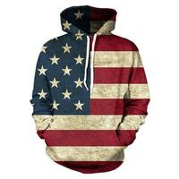2017 Autumn Hot Selling Long Sleeves Casual Loose Personality Hooded American Flag Hoodies