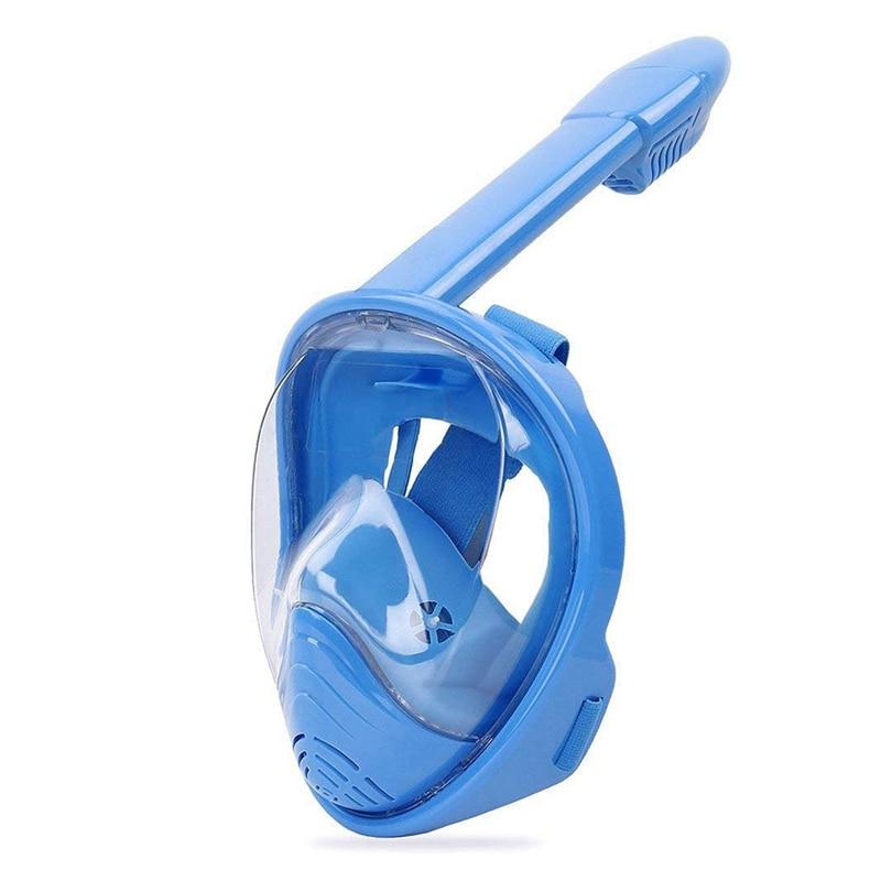 Full Face Snorkel Mask,Foldable 180 Degree Panoramic View Snorkel Mask,Anti-Fog Anti-Leak Design For Kids,Blue XS