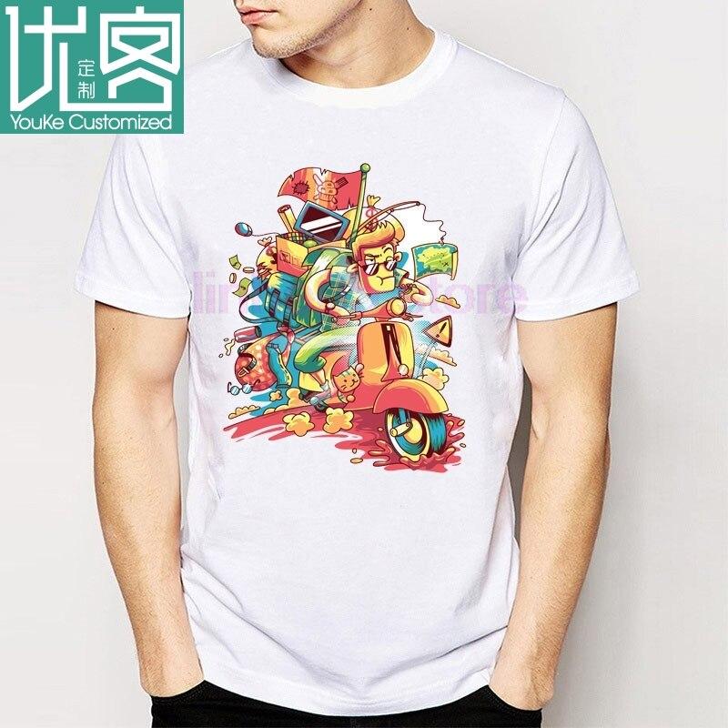 Mais novo camisa Dos Homens T Da Moda tops O Impresso Camisetas Scooter Vespa Impressão Camisetas Menino de Boa Qualidade Confortável T camisas