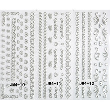 3 PACKS / LOT NAIL ART METAL DECAL SELF ADHESIVE STICKER SLIDER GOLD SILVER VANTAGE CHAIN LACE VINE JM010-012(China)