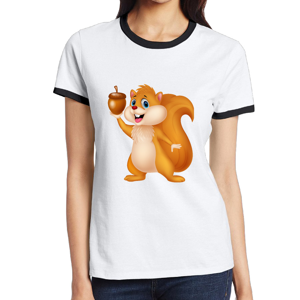 Black t shirt clipart - Squirrel Clipart Funny Cartoons Clipart Customized Cotton Printing O Neck Short Black Shirt Ladies Cute Rope