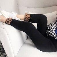 Girls plus velvet thickening leggings 2018 autumn and winter new girls leopard print curling pants