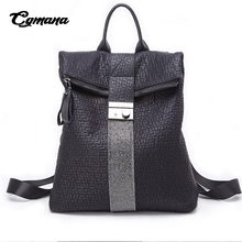CGMANA High Quality Soft Leather Backpacks Female 2018 Vintage Diamond School Bags For Teenage Women Travel