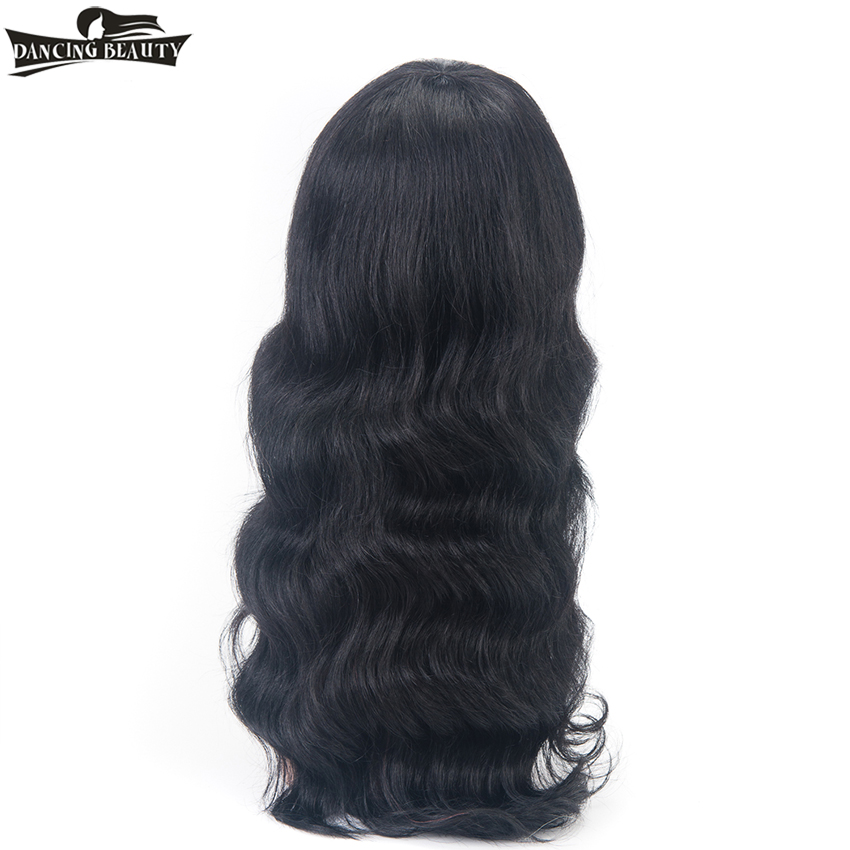 DANCING BEAUTY Pre-Colored Wavy Human Hair Wigs Non Lace Brazilian Hair Wig For Women # 1 Non Remy
