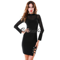 Women Dresses Summer 2016 New Arrival Black Long Sleeves Mesh HL Bandage Dress Sexy Bodycon Wholesale