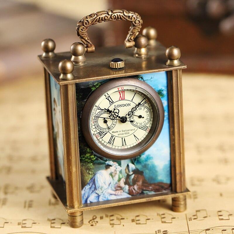 Retro Bronze Oil Painting Style Mini Home Decoration Watch Clock Unique Antique Art Hand-wind Mechanical Pocket Watch Clock Mens
