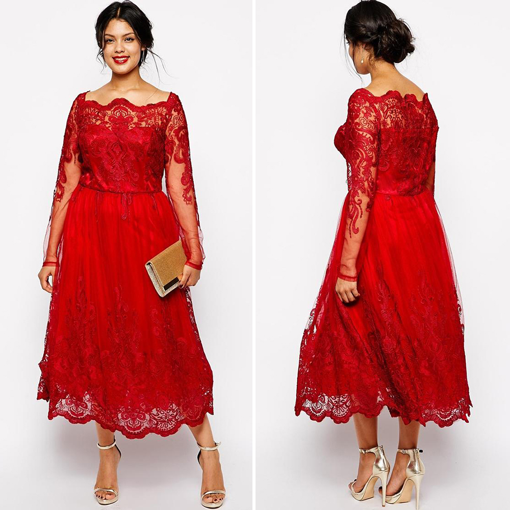 Fashion Tea Length Red Lace Prom Dresses 2016 Boat Neck -9127