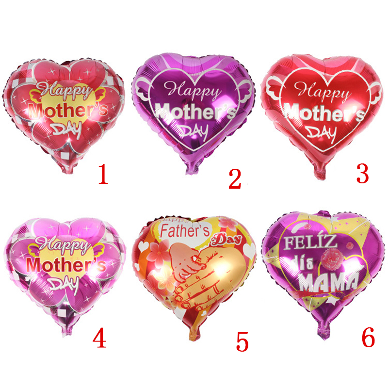 5 pcs Father and mother Love heart shape Mama balloons happy mother's day Aluminum Foil balloon mother festival globos balloons