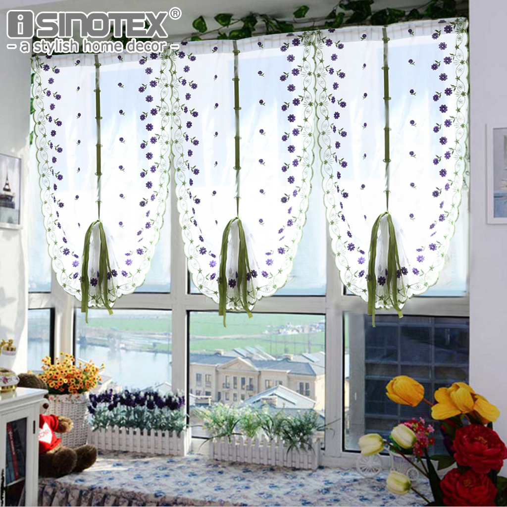 Tulle voile roman curtains embroidery flower window for Rideaux decoration