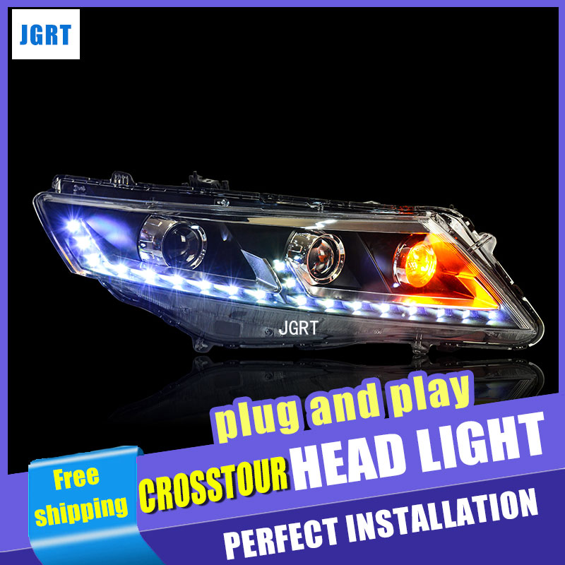 Car Styling For Honda Crosstour headlight assembly For Crosstour LED head lamp Angel eye led front light h7 with hid kit 2pcs.