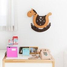 Cute Cartoon Wooden Wall Clock Swing Modern Design Kids Bedroom Decorative Watch Trojan Wood Clocks Silent Home Decor 15 inch