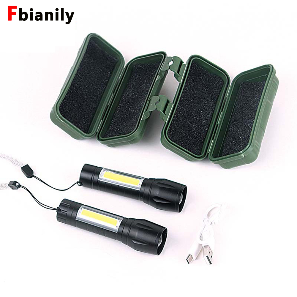 Mini COB LED USB Flashlight Rechargeable Zoom Focus Work Built In Battery Torch Light Lamp Lantern USB Cable With Box