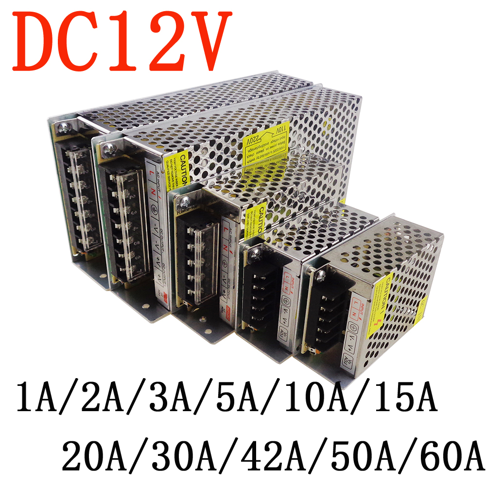 led Driver AC100-240V to DC 12V 1A 2A 3A 5A 10A 15A 20A 30A 40A 50A 60A Power Adapter for LED Strip light Supply Transformer 201w led switching power supply 85 265ac input 40a 16 5a 8 3a 4 2a for led strip light power suply 5v 12v output
