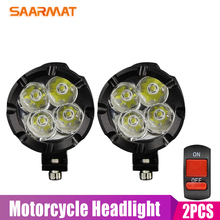 2pcs Universal LED Motorcycle Headlight Mirror Mount Driving Fog Spot Head Light Spotlight Assist Lamp Side Switch