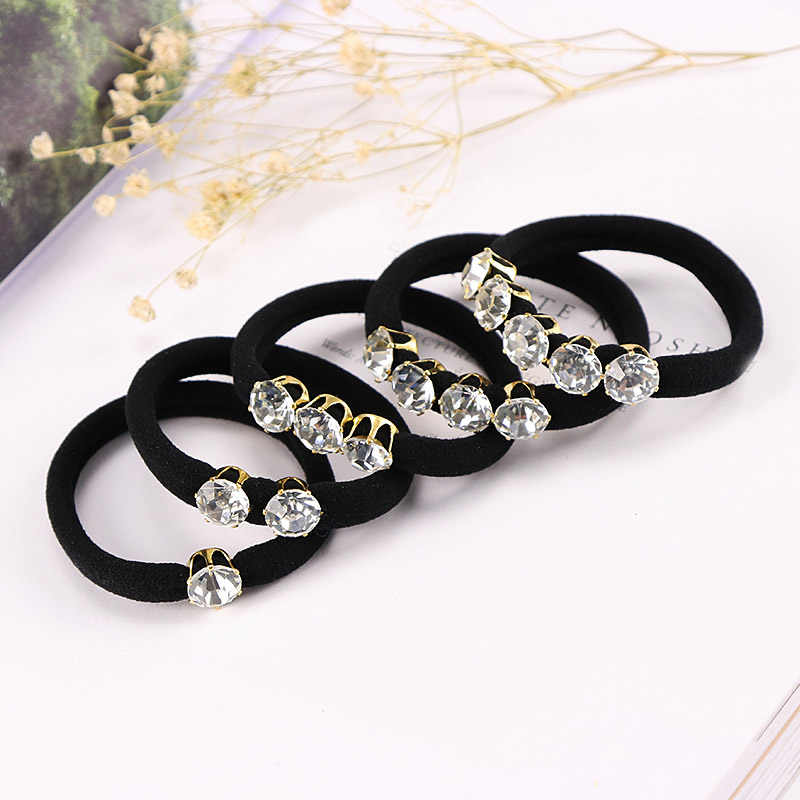High Quality  Black Korean Style Rhinestone Ziron Elastic Hair Rope Hair Bands Hair Accessories