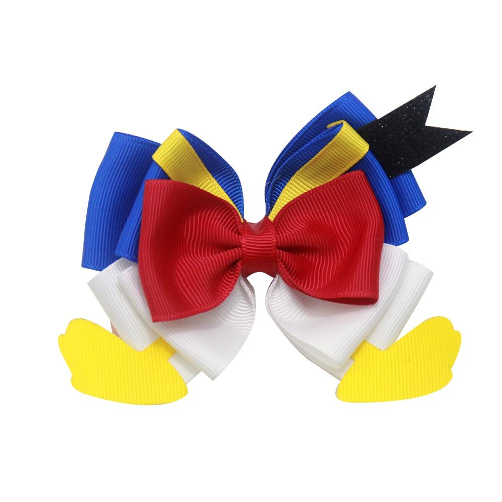 4 Inch Sole Make Lovely Cartoon Duck Feet  Of Hair Bow Clip Bowknot Hairpin Princess Headdress Gift Hair Accessories