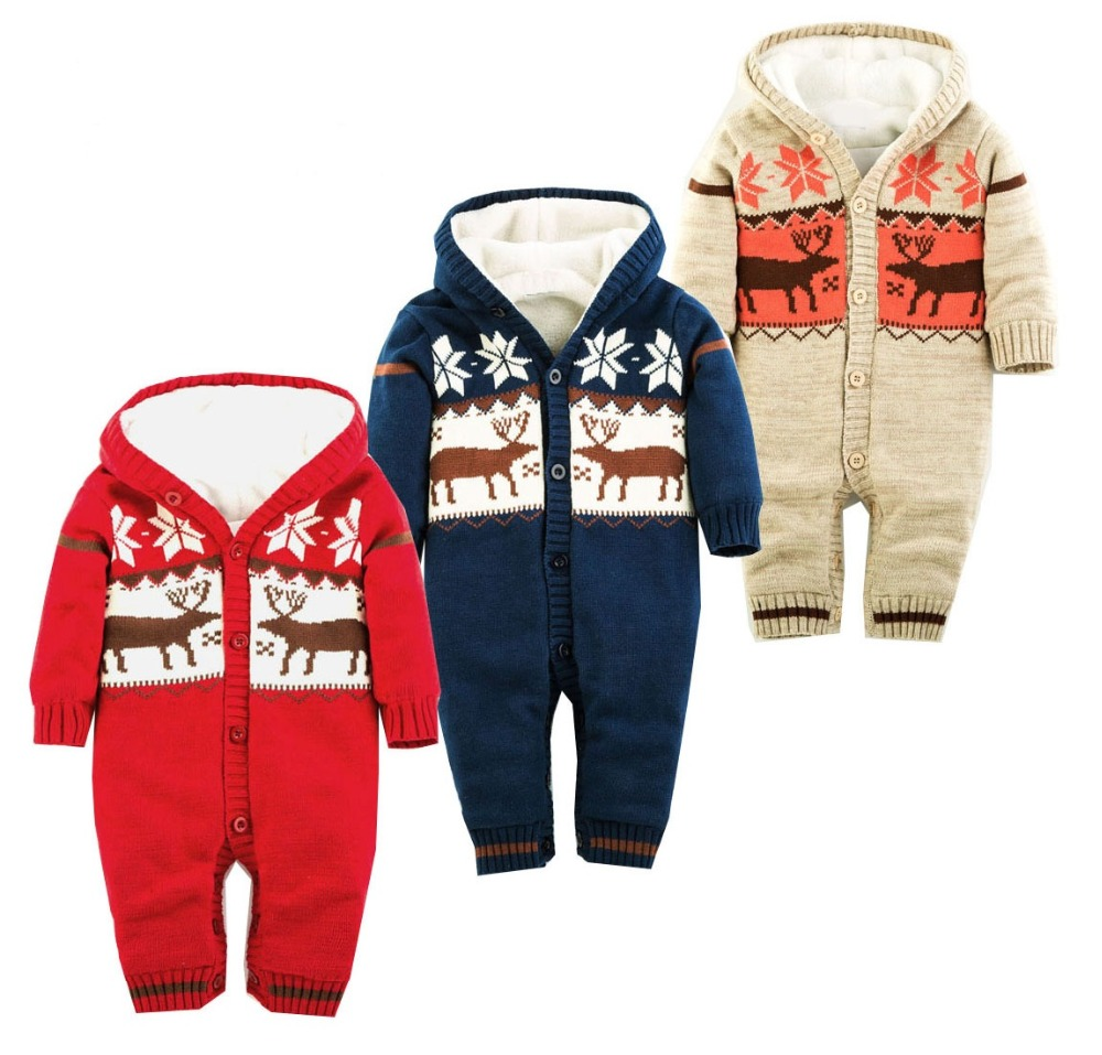 2018 winter Boys Girls Warm Romper Knitted Sweater Christmas Deer Hooded Outwear Jumpsuits Baby Rompers Kid Clothes baby rompers winter newborn boys girls clothes toddler christmas warm thick costume roupa infant jumpsuits hooded outwear red