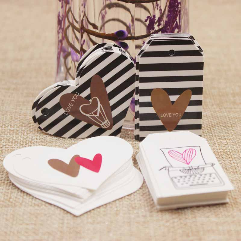 50pcs gold foil love design wedding tag heart shape mutli styles paper tag card love bag hang tag card Zerong Jewelry cardboard