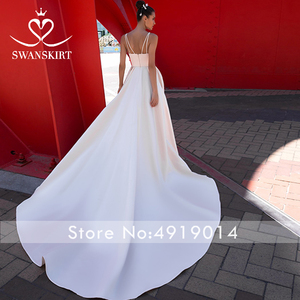 Image 2 - Fashion Sweetheart Satin Wedding Dress Swanskirt Simple A Line With Pocket Court Train Bride Gown Princess Vestido de Noiva F136