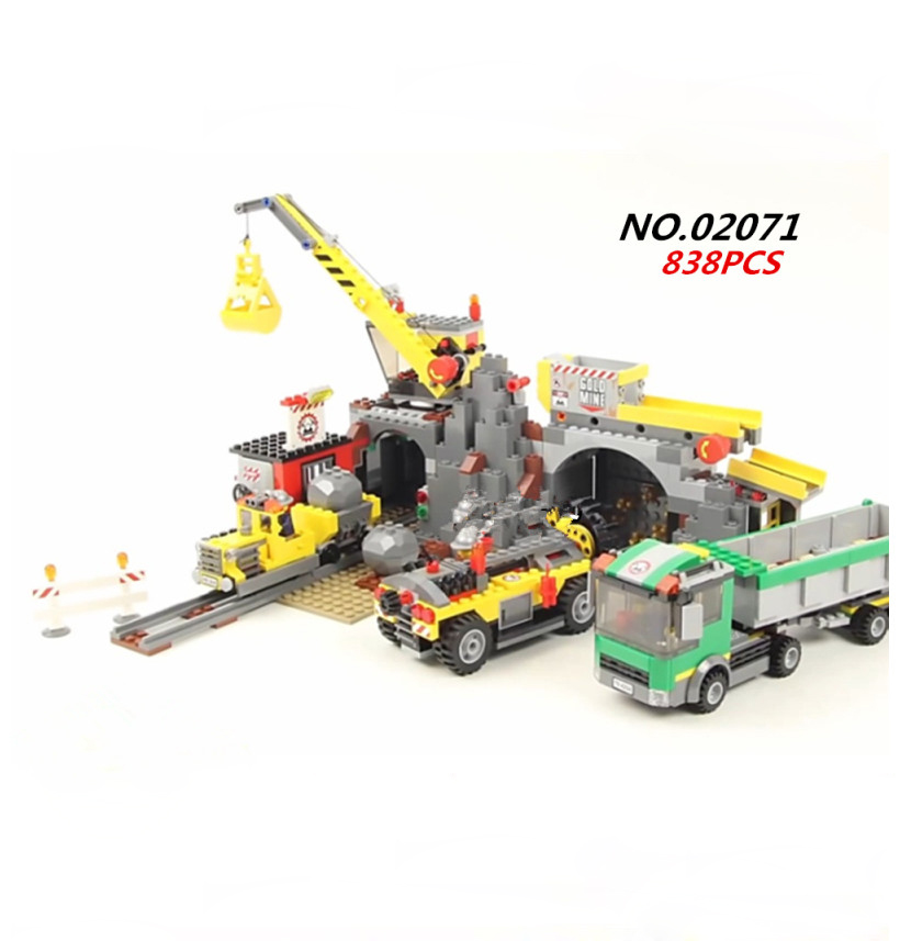 Hot city The mine engineering team building block Miner figures Truck Crane Mining machine bricks 4204 toys for children gifts 10548 elves the precious crystal mine building block set naida farran figures baby dragon toys for children compatible 41177