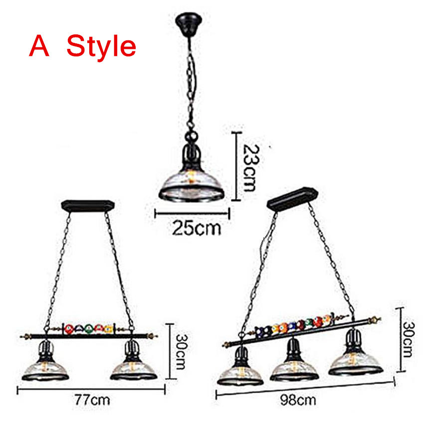 Image 5 - Creative Pool Table Pendant Lamp Nordic Decorate Lights Retro Industrial E27 Pendant Lights Restaurant Bar Cafe Hanging Lamp-in Pendant Lights from Lights & Lighting