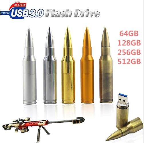 Unidade de armazenamento de Metal Bala Shape usb flash drive, USB 3.0 Flash Disk Pen Drive Memory Sticks 16/32/64 GB usb stick Frete grátis!