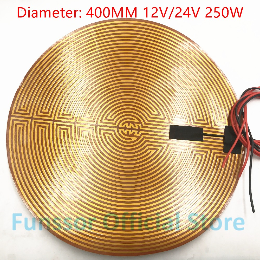 Funssor 400mm 12V/24v 250W/300W Round Polyimide film Heater bed NTC3950 Thermistor for DIY Delta/Kossel 3D Printer funssor 220v 450mm diameter round polyimide heater bed heater with adhesive tape for diy kossel 3d printer