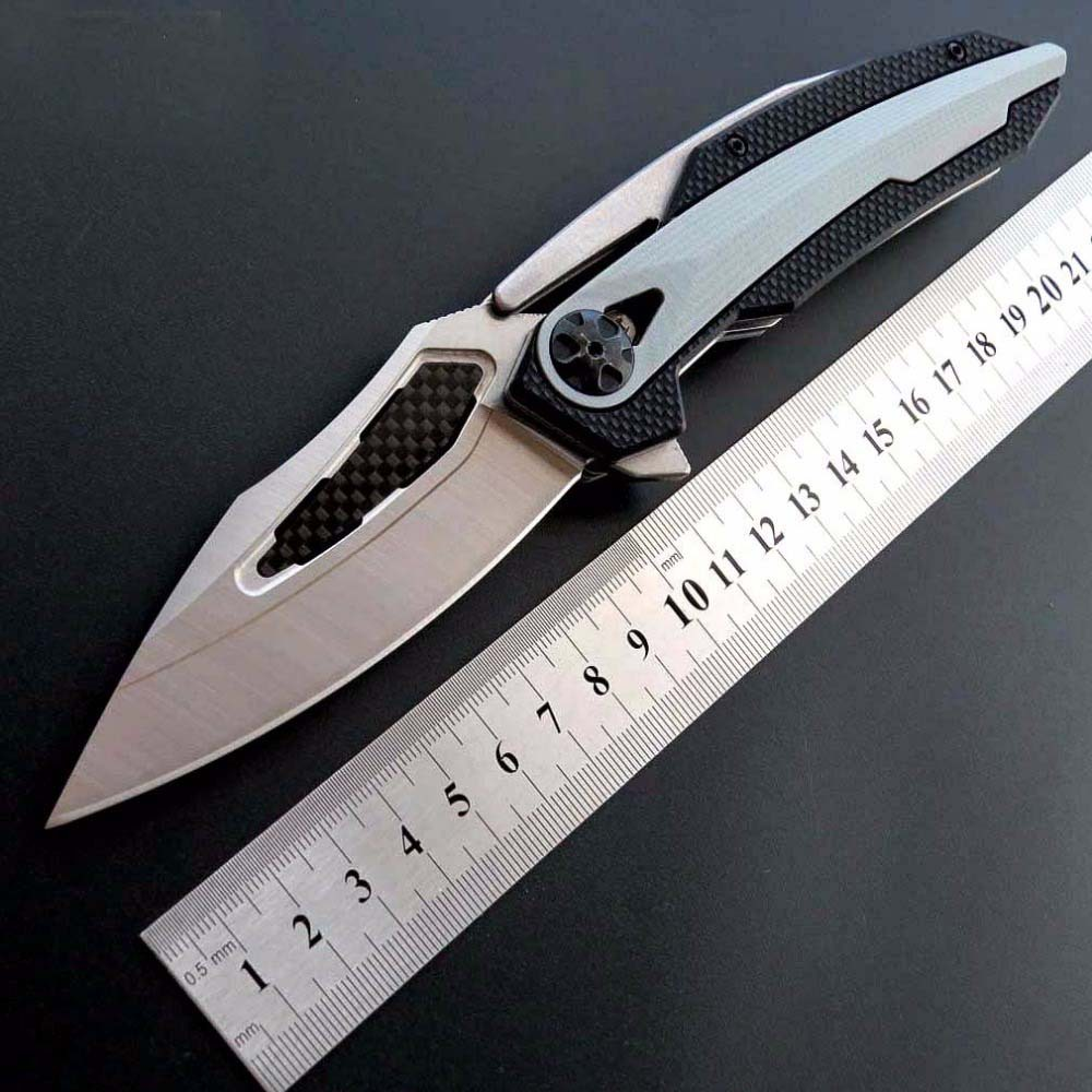 Best version ZT 0999 Folding Knife ZT0999 D2 steel Carbon Fiber CNC Blade Bear Ball Knife Camping Hunting Outdoor EDC Tools adilux 0999