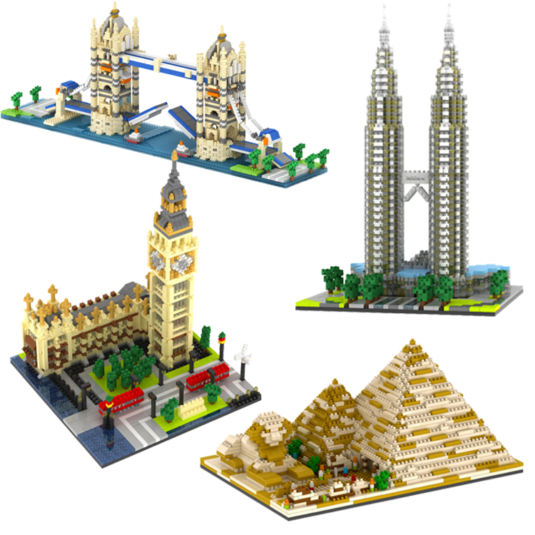 YZ Mini Blocks World Famous Building DIY Building Bricks London Tower Bridge Kids toys Petronas Towers Architecture YZ056-YZ059 loz mini diamond block world famous architecture financial center swfc shangha china city nanoblock model brick educational toys