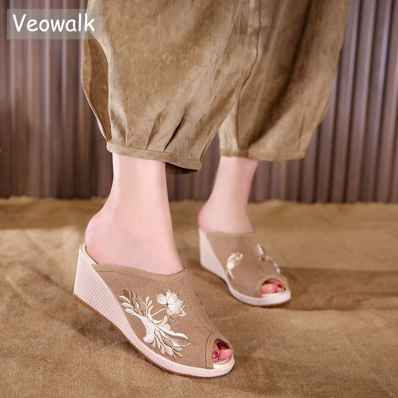 Veowalk Peep Toe Women Soft Cotton Fabric Mules Slippers Summer Handmade Embroidered Ladies Comfort Hemp Wedge Platform Shoes