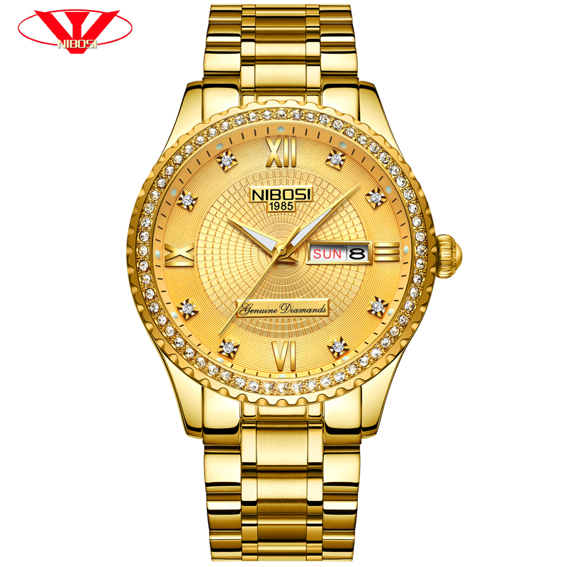 NIBOSI Gold Watch Men Skeleton Automatic Mechanical Watch Fashion Casual Business Skeleton Mans Watches Top Brand Luxury Clock rosdn luxury men gold watches famous brand men s automatic mechanical watch mans gold skeleton mechanical wristwatch