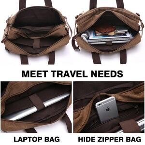Image 4 - MARKROYAL Leinwand Leder Männer Reisetaschen Hand Gepäck Taschen Männer Duffel Taschen Reise Tote Verstecken Die Schulter Strap Dropshipping