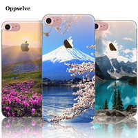 Nature Landscape Scenery Case For iPhone 8 7 6 6s Plus Tower Mountain Building Sea Boat Back Cover Case For iPhone 8 7 Capinhas