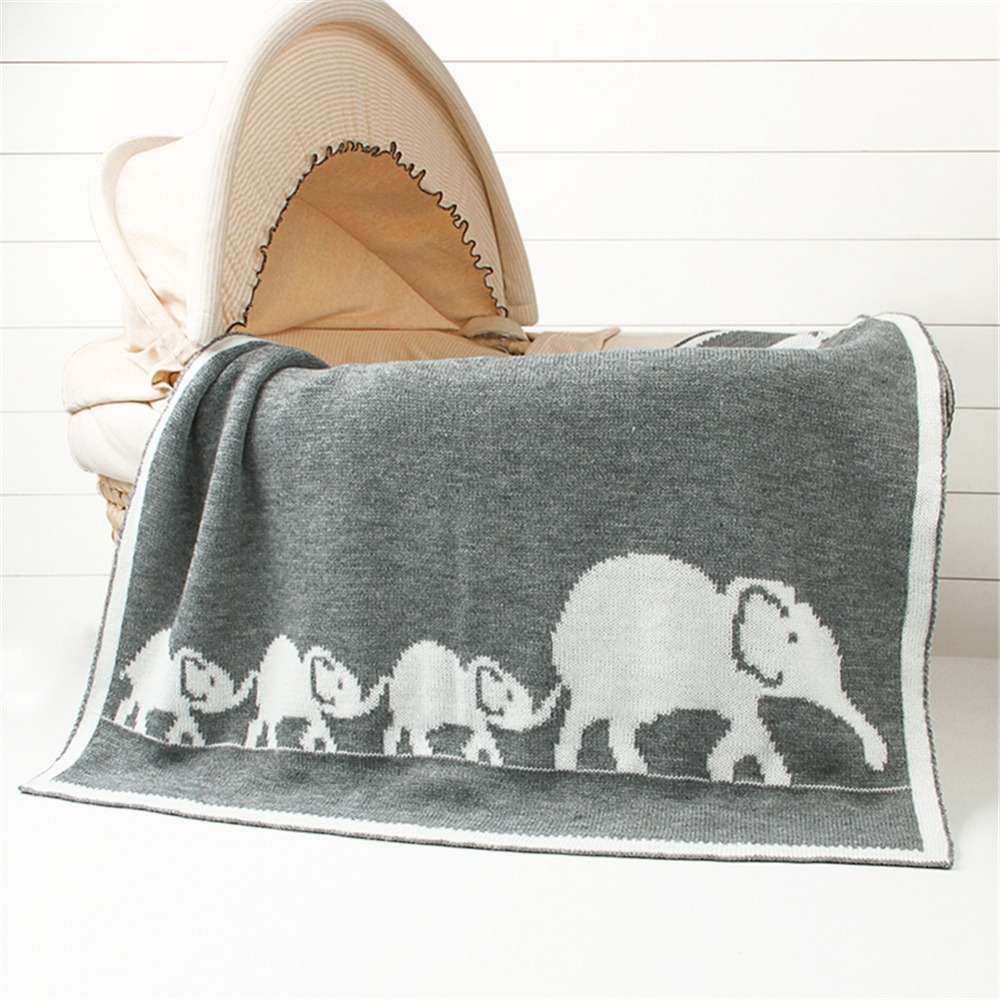 Children Toddler Baby Cartoon Elephant Wave Knitted Blanket For Boys And Girls (Pink-Wave)