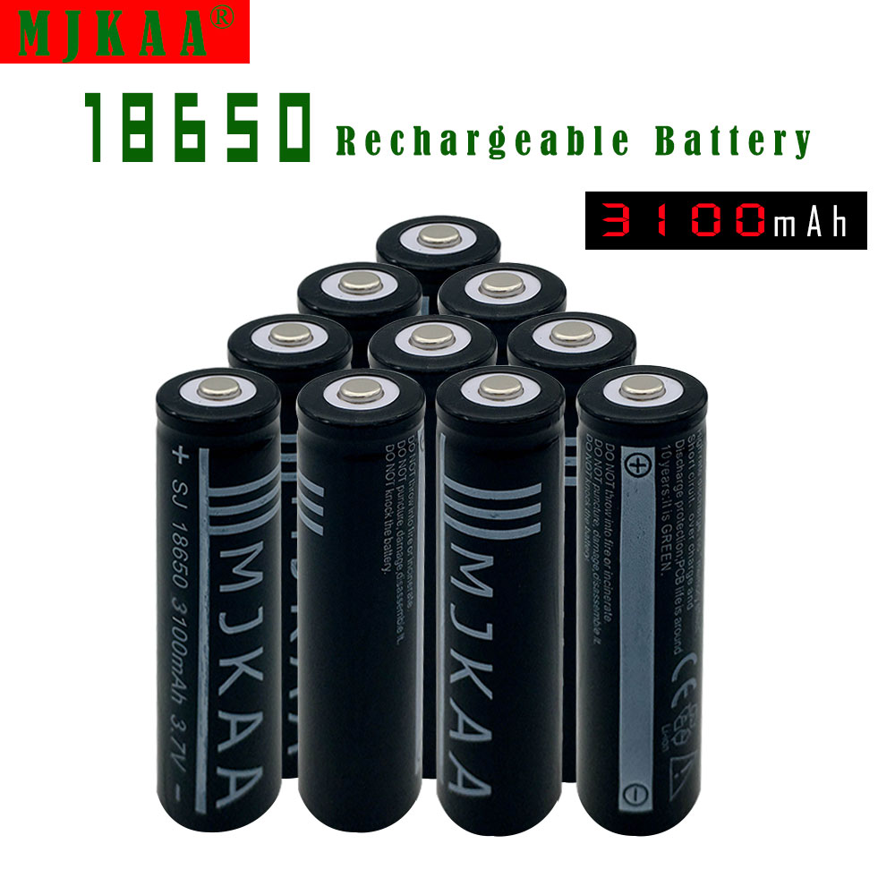 18pcs 18650 Rechargeable Batteries(Not AA battery) 3.7v 3100mAh Lithium Li-ion Battery With Tip Head for Led Flashlight