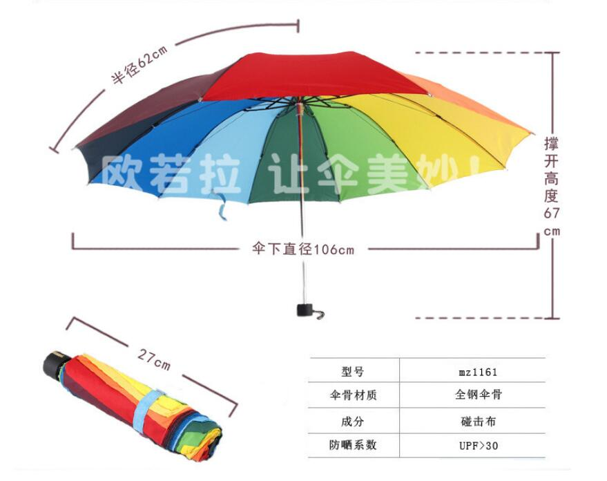 1 piece anti UV 106 cm Large Rainbow Umbrella Reinforcement Super Windproof Women Umbrella High Quality 3 Folding Umbrella